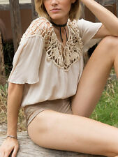 Somedays Lovin' Stones Natural Crochet Nude Cotton Crop Beach Blouse Top Coverup