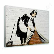 Alonline Art - READY TO HANG CANVAS Cleaning Lady Banksy Oil Painting Print