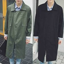 Men Black Green Parka Anorak Windbreaker Longline Overcoat Outerwear Coat Jacket