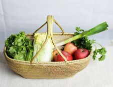 Picnic Basket Bamboo Laundry Insulated Vintage Wicker Outdoor Kitchen Storage