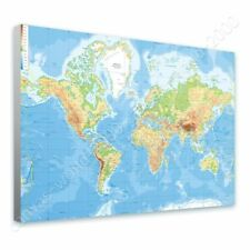 Alonline Art - READY TO HANG CANVAS Physical Modern World Map Framed Print