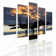 READY TO HANG CANVAS Aircraft In The Sunset Split 5 Panels 5 Panels Framed Art
