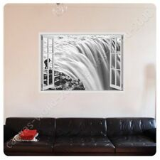 READY TO HANG CANVAS Black And White Falls Fake 3D Window Oil Painting Print