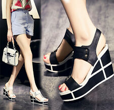 Womens Slingbacks Sandals Platform Wedge Heel Color Stitching Peep Toe Shoes Hot