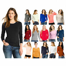 New Women's Ladies Plain Long Sleeve Stretch Scoop Neck T-Shirt Top Size 8-22