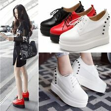 Womens Spike Studded Platform Wedges Ankle Boots High Heels Punk Creeper Shoes
