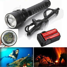 5000/10000LM 3x T6 LED Underwater 20-100m Scuba Diving 18650 Flashlight Torch