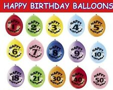 "Pack of 6 HAPPY BIRTHDAY BALLOONS 12"" AIR FILL AGES 1-50 MIXED COLOURS."