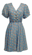 Retro WW2 Wartime 1930's 1940's Blue Art Nouveau Heart Tea Dress
