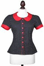 Friday On My Mind red peter pan collar black and white polka dot blouse