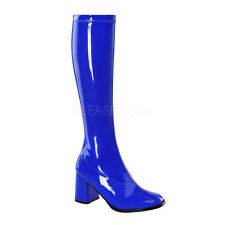 PLEASER FUNTASMA GOGO-300 NAVY BLUE PATENT 70'S KNEE HIGH BOOTS UK 3-13