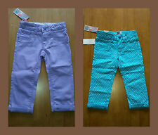 GIRLS CROPPED TROUSERS JEANS TURQUOISE POLKA DOT OR PLAIN MAUVE ages 4 5 6 BNWT