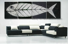 Framed Black White MODERN ABSTRACT ART HAND PAINTED OIL PAINTING CANVAS- Fish