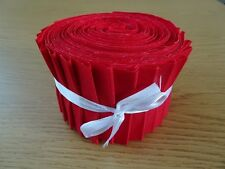 10 OR 25 JELLY ROLL STRIPS 100% COTTON PATCHWORK FABRIC ~ RED PLAIN