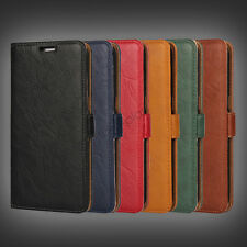 Genuine Real Leather Flip Wallet Card Slot Case Cover For Samsung Galaxy Phones