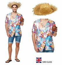 MENS HAWAIIAN FANCY DRESS COSTUME Party Guy Shirt Straw Hat Men Luau BBQ Summer