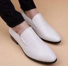 Mens dress formal pull on pointed toe casual leather shoes loafer#white