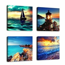Modern 4 Panel Seascape Painting Canvas Prints Wall Art Framed Home Office Decor