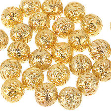 DIY jewelry! 4/6/8/10mm GOLD PLATED FILIGREE Spacer Metal Beads gold color