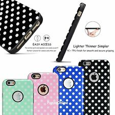 Cute Polka dots Textured Hybrid  Slim Case TPU Cover For Apple iPhone 6 6S Plus