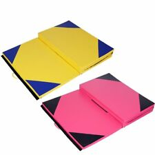 Pink Large 7ft Gymnastics Folding Balance Beam 2.2M Leather Gym 10FT Panel Mat