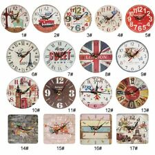 Artistic Silent Creative European Style Round Antique Wooden Home Wall Clock P5