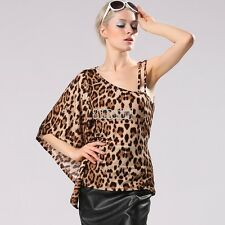 Stylish Lady Women Sexy One-shoulder Batwing Sleeve Leopard Slim Club B5UT