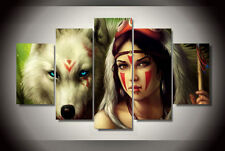Modern Abstract Oil Painting Wall Decor Art Huge - Wolf woman 5 Pcs Poster