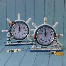 Decorative Wooden Nautical Anchor Ship Boat Steering Time Clock Table Desk Shelf