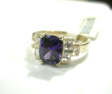 Amethyst CZ (oval-cut) w/Clear Accents .925 Sterling Silver  Women's Ring