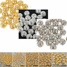 4/ 6/8/10/12mm GOLD/ SILVER /Gray PLATED FILIGREE Spacer Metal Choose