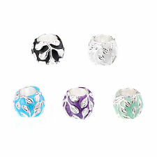 50/100 PCS Big Hole European Design Charms Zinc Alloy Leaf Beads DIY Bracelets