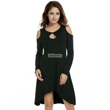 Women Off-shoulder Long Sleeve Shift Dress Asymmetric Hem Loose Casual Knee B5UT