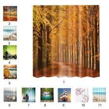 Extra Long Bathroom Fabric Bath Shower Curtain w/ 12 Hooks Scenery Print