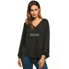 Women V-Neck Raglan Long Sleeve Ruched Solid Loose Blouse Tops B5UT