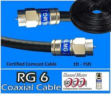 RG6 PCT F Black Coaxial Coax 1 - 75 Ft Cable Wire Satellite HD Antenna TV lot