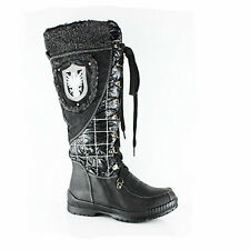 NEW WOMENS LADIES WINTER FLAT MID HIGH CALF BOOTS SHOES SIZE 3-8
