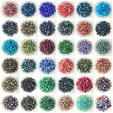 NEW 50PCS 6mm Glass Oblate Pearl Spacer Loose Beads Pattern Jewelry Making A