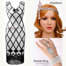 Gatsby 1920s Flapper Dress Sequin Beads Party Cocktail Costume Plus Size UK 8-20