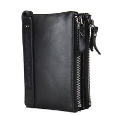 HOT High Quality Genuine Leather Small Vintage Men Wallet Short Coin Purse Black
