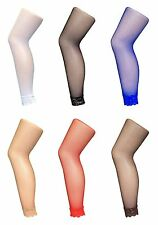 Ladies Bright Colourful Neon Fancy Dress Footless Fishnet Tights with Lace Trim