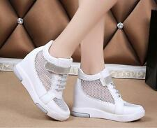 Womens Mesh High Breathable Wedge Heel Vogue Sneakers Casual High Top Shoes Hot