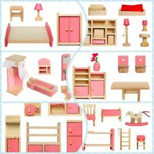 Furniture Dolls House Miniature 6 Room Type Kids Children Learn Toys