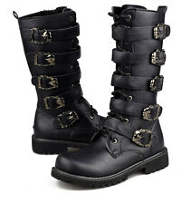 Mens Stud Punk Rock Goth Band Lace Up Knight Boots Motorcycle Riding Cosplay Hot