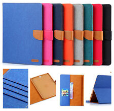 UK Denim Cloth PU Leather Cover Case Stand Pockets For Apple Samsung Tablet PC