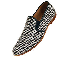 Amali Mens Black & White Houndstooth Knit Dress Casual Slip On Loafer : Trap-000