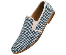 Amali Mens Royal & White Houndstooth Knit Dress Casual Slip On Loafer : Trap-052