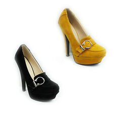 WOMENS LADIES PLATFORM HIGH STILETTO HEEL BUCKLE FASHION COURT SHOES SIZE 3-8