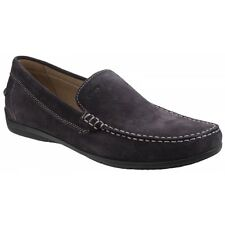 GEOX SIMON C Mens Soft Suede Leather Slip On Comfort Casual Loafers Shoes Coffee