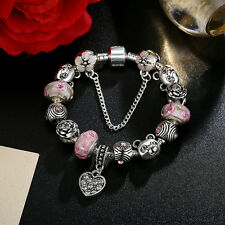 DIY European Love Heart Pink Glass Bead & Crystal Charm Bracelet w Safe Chain